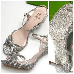 Kate Spade Florence silver glitter heels